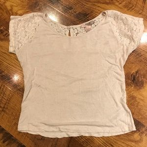 Love 21 cream shirt with lace detail